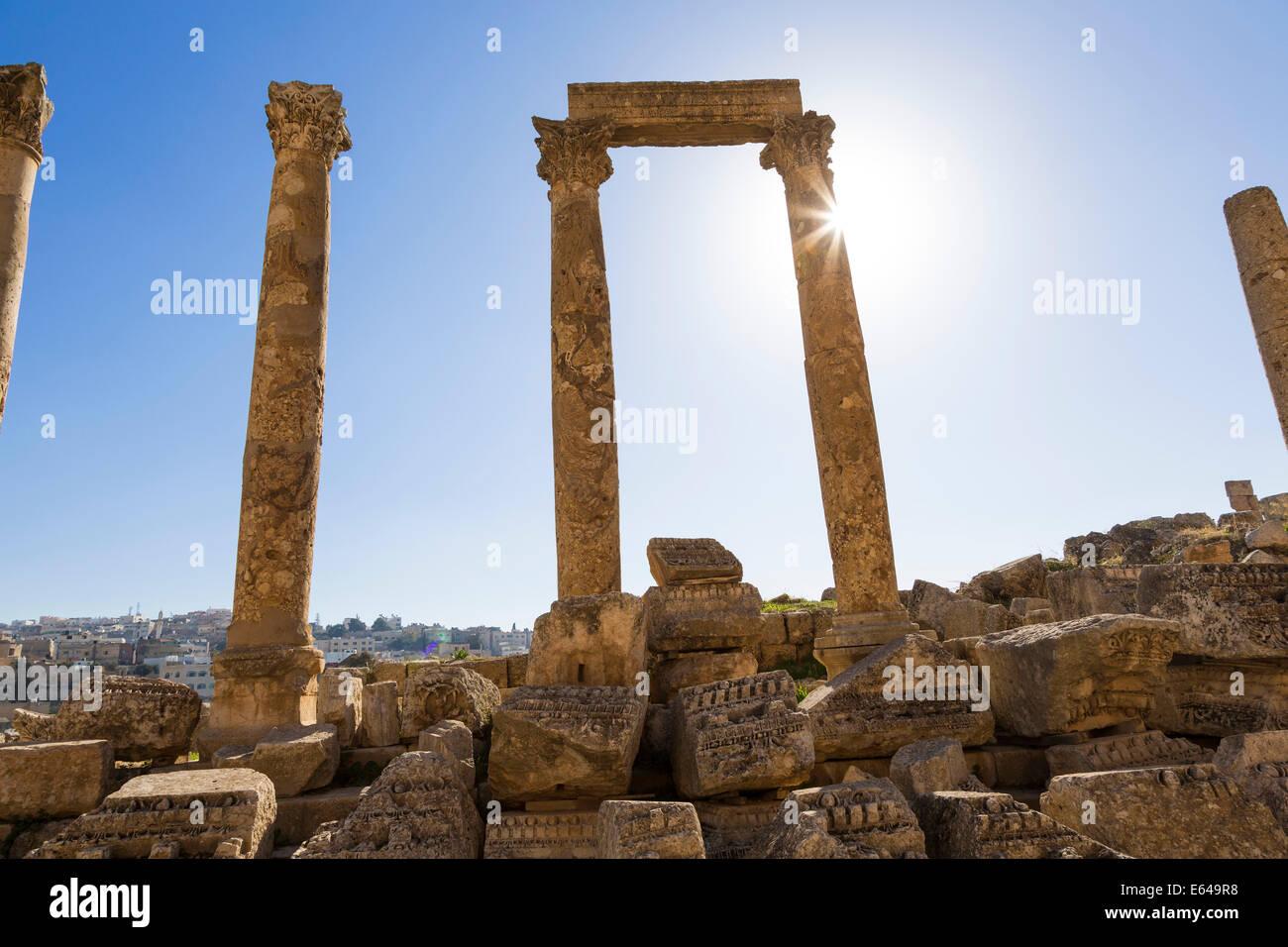 Cardo Maximus, Colonnaded Street, Roman ruins, Jerash, Jordan - Stock Image