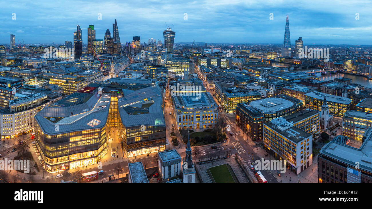 View over City of London with The Shard, Gherkin, Walkie-Talkie building & River Thames, UK - Stock Image