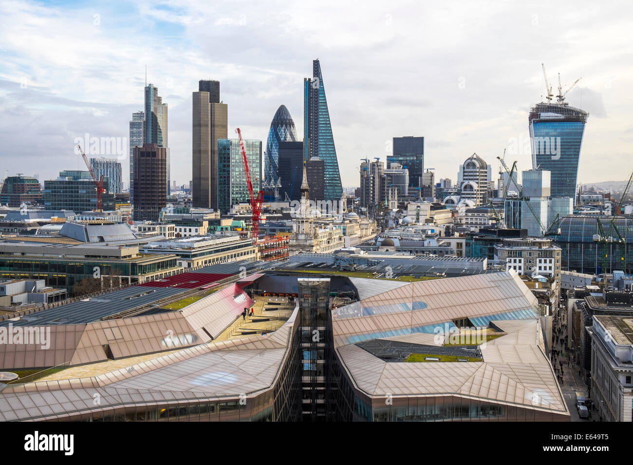 View to The Gherkin, Walkie Talkie building and Financial District, London, UK - Stock Image