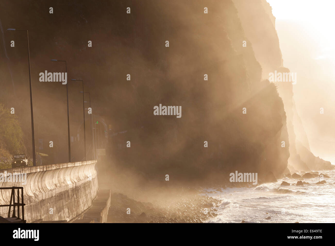 Car & road tunnel, north coast, Madeira, Portugal - Stock Image