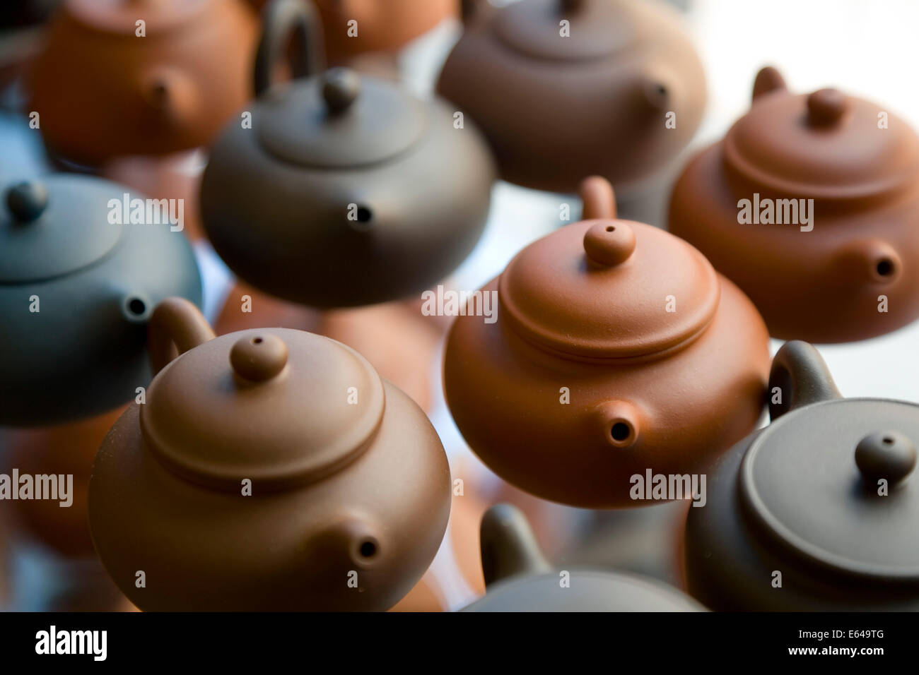 Teapots in Chinese tea shop - Stock Image