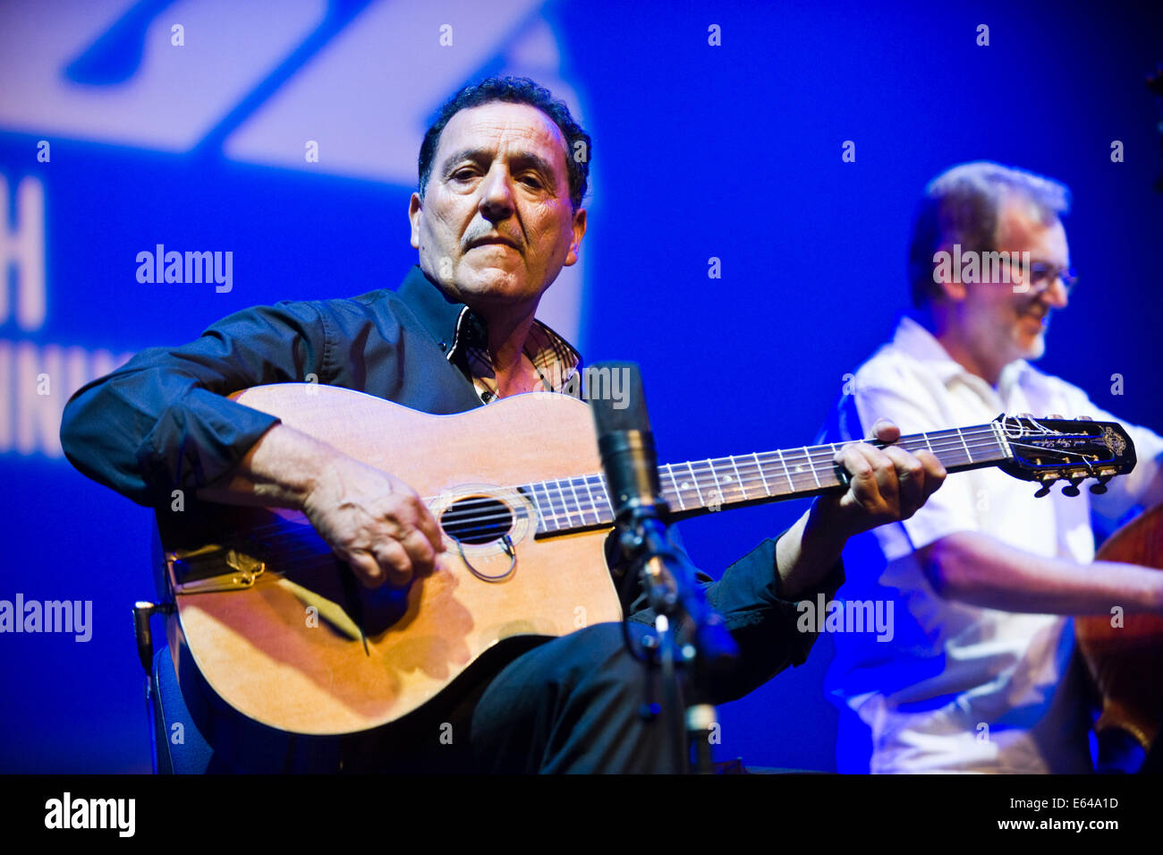 Live music gypsy jazz with Fapy Laferttin Quartet on stage at Brecon Jazz Festival 2014 - Stock Image