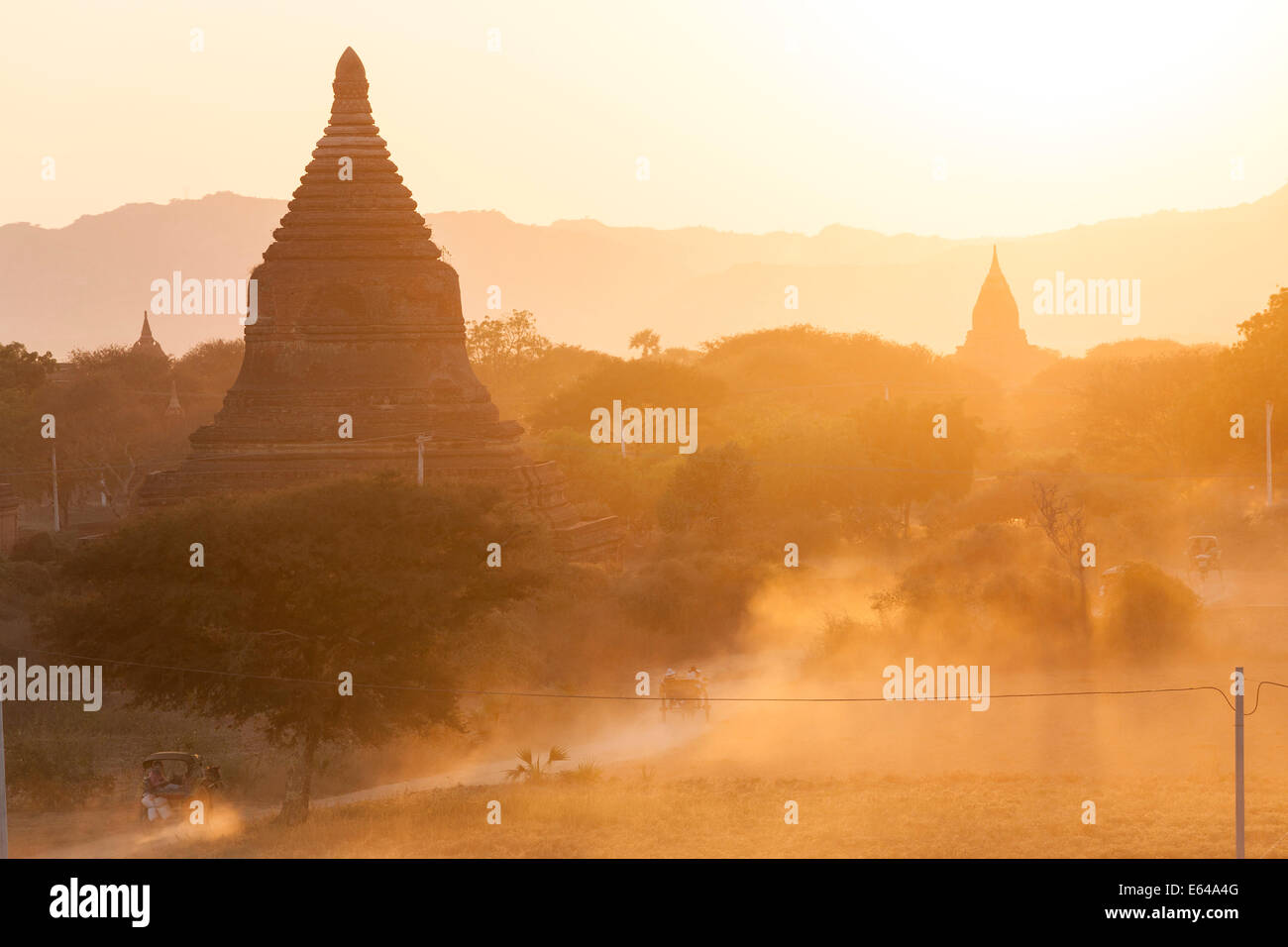 Ancient temple city of Bagan (also Pagan) at sunset, Myanmar (Burma) - Stock Image