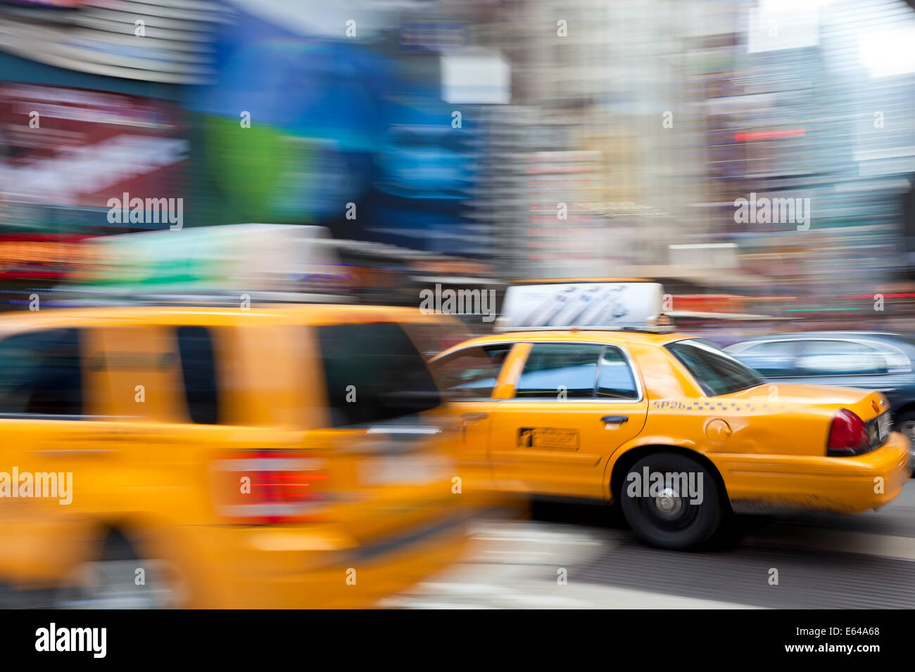 Yellow taxi Cabs, just off Times Square, Manhattan, New York - Stock Image