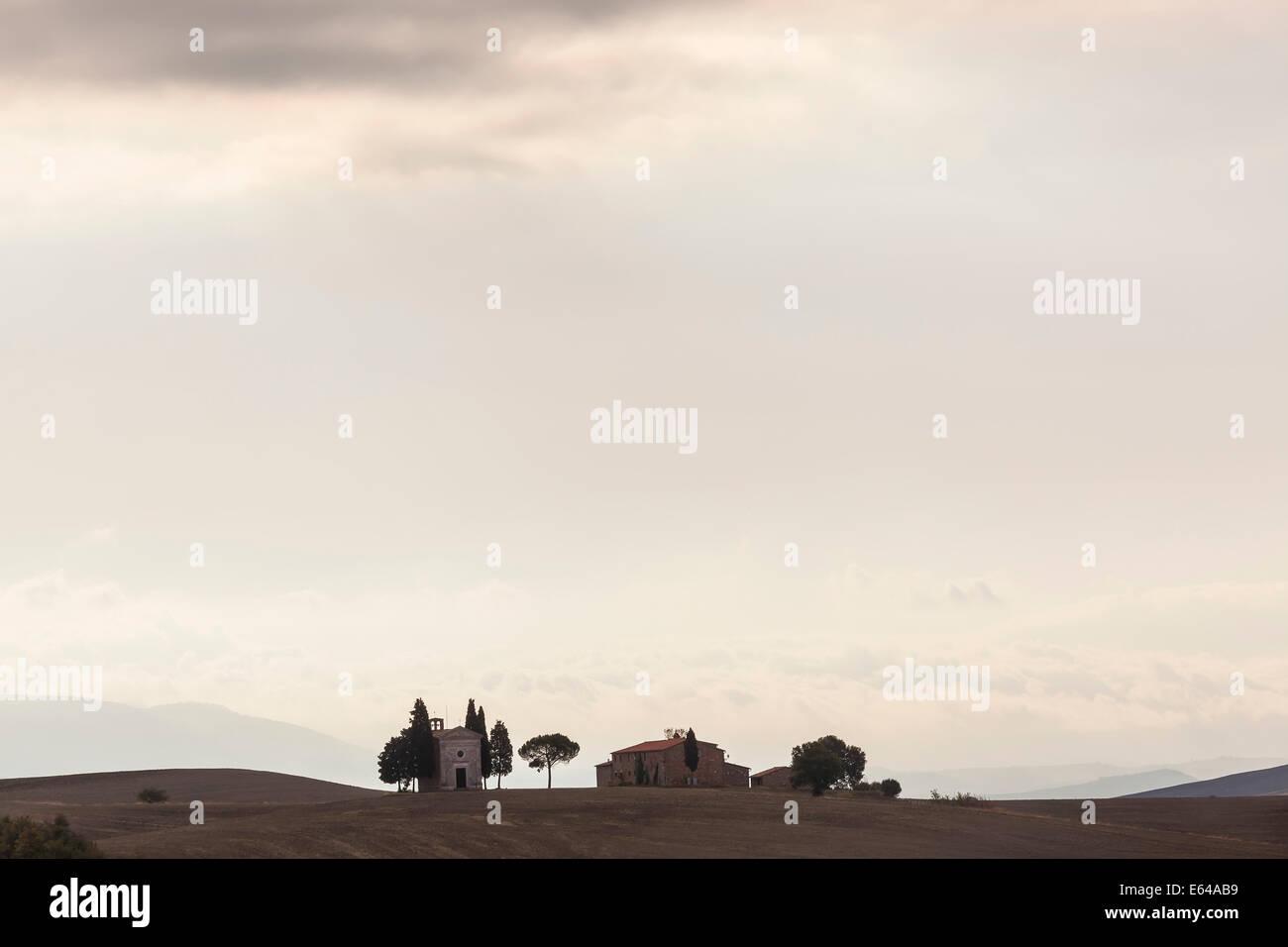 Vitaleta chapel near San Quirico d'Orcia Val d'Orcia Tuscany Italy - Stock Image