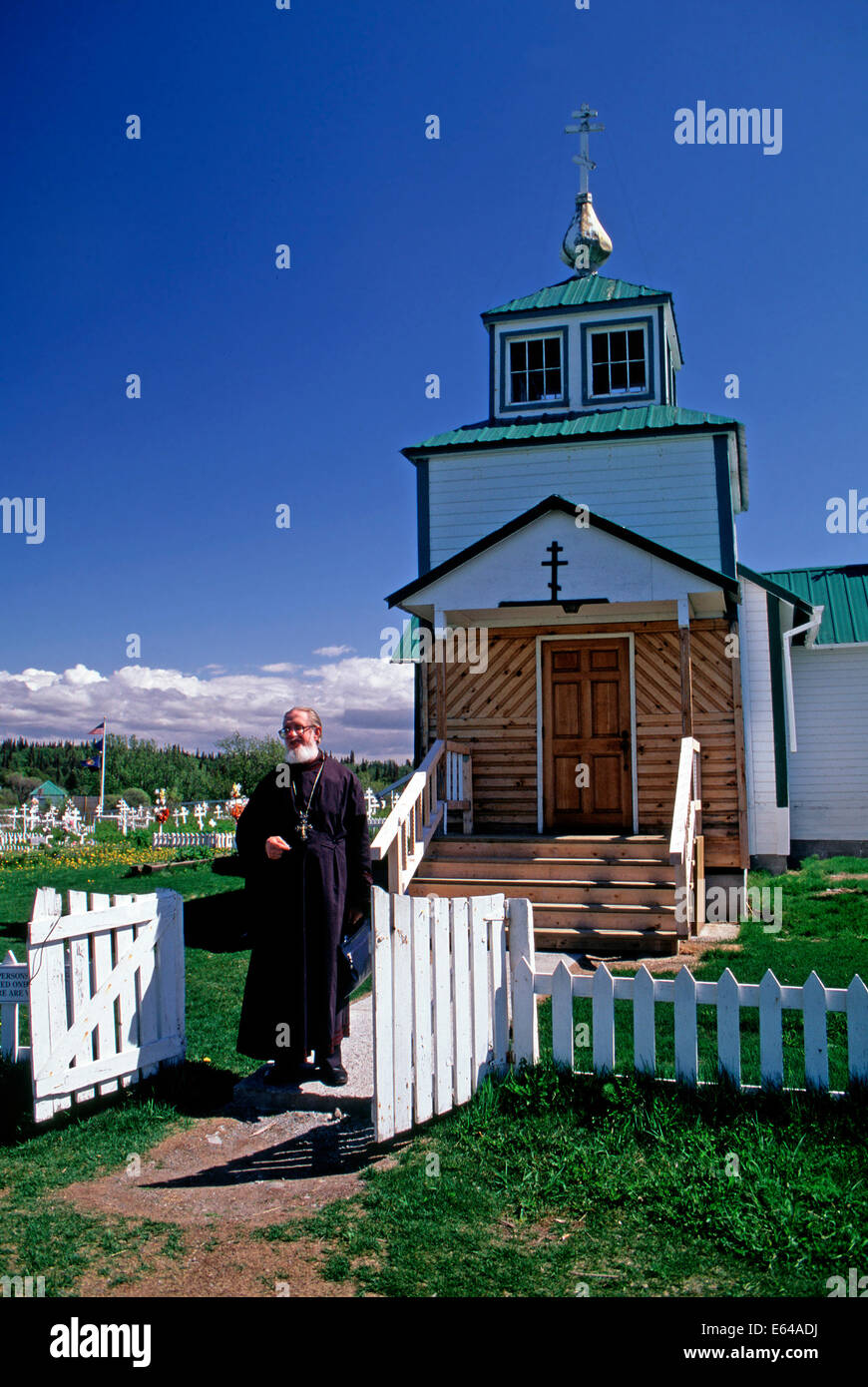 The priest of the Holy Transfiguration of Our Lord Russian Orhtodox Church,Ninilchik,Alaska - Stock Image