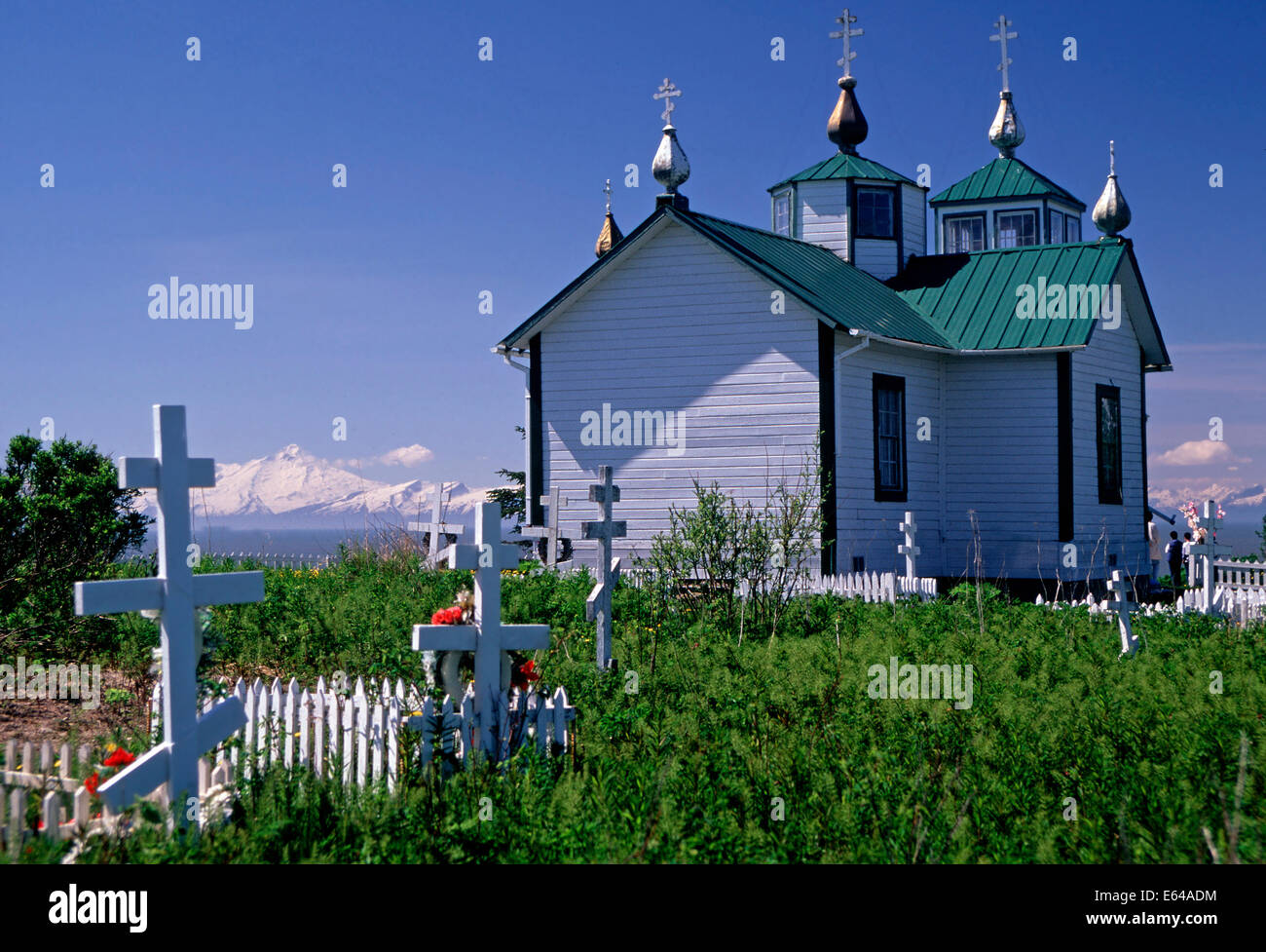 The Holy Transfiguration of Our Lord Russian Orthodox Church,Ninilchik,Alaska - Stock Image