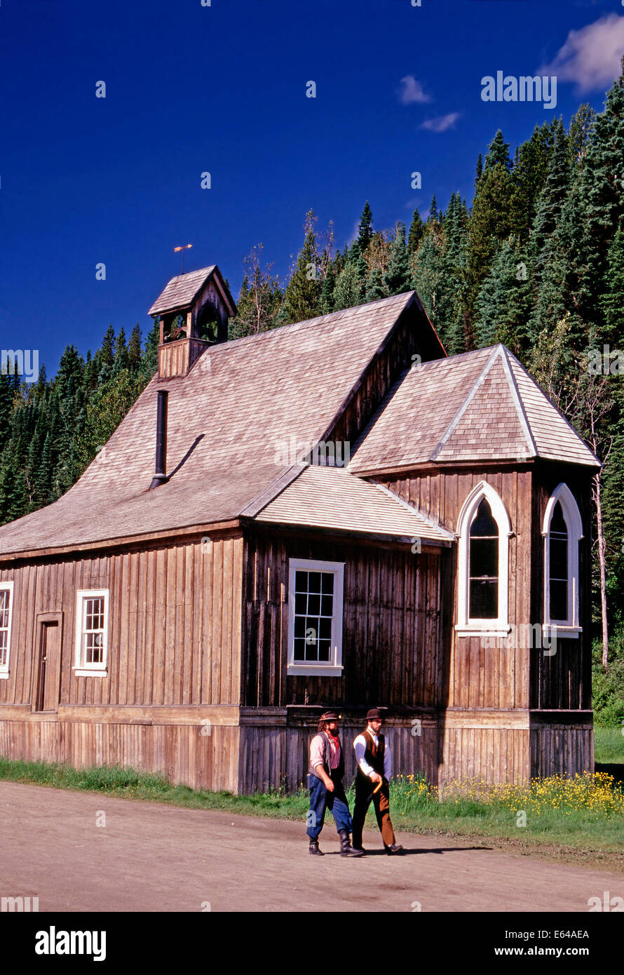 Two costumed docents in Barkerville, British Columbia - Stock Image