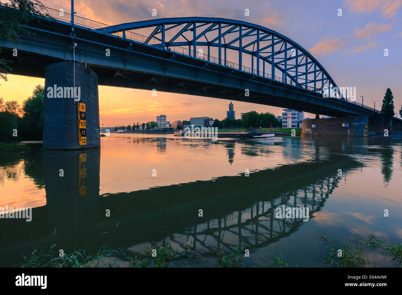John Frost Bridge (John Frostbrug in Dutch) is the road bridge over the Lower Rhine at Arnhem, in the Netherlands. - Stock Image