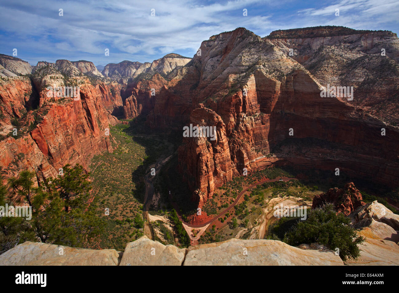 Observation Point, Zion Canyon, Virgin River and Zion Canyon Scenic Drive at Big Bend, seen from the top of Angel's - Stock Image
