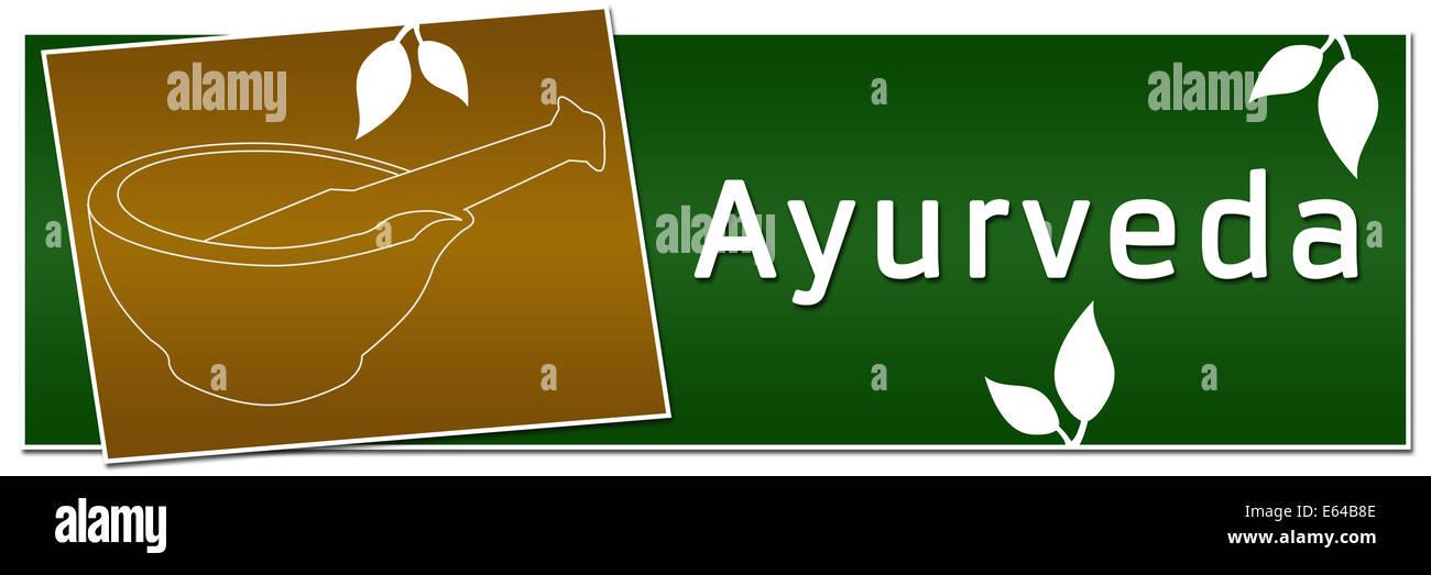 Ayurveda Mortar Banner Green Golden Stock Photo Alamy