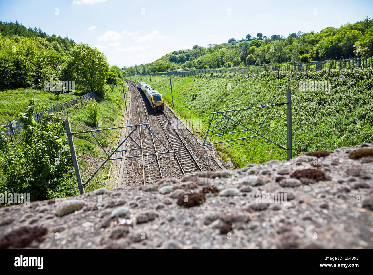 A Virgin intercity train on the main Londow to glasgow line at Bathpool Kidsgrove Stoke on trent Staffordshire England - Stock Image