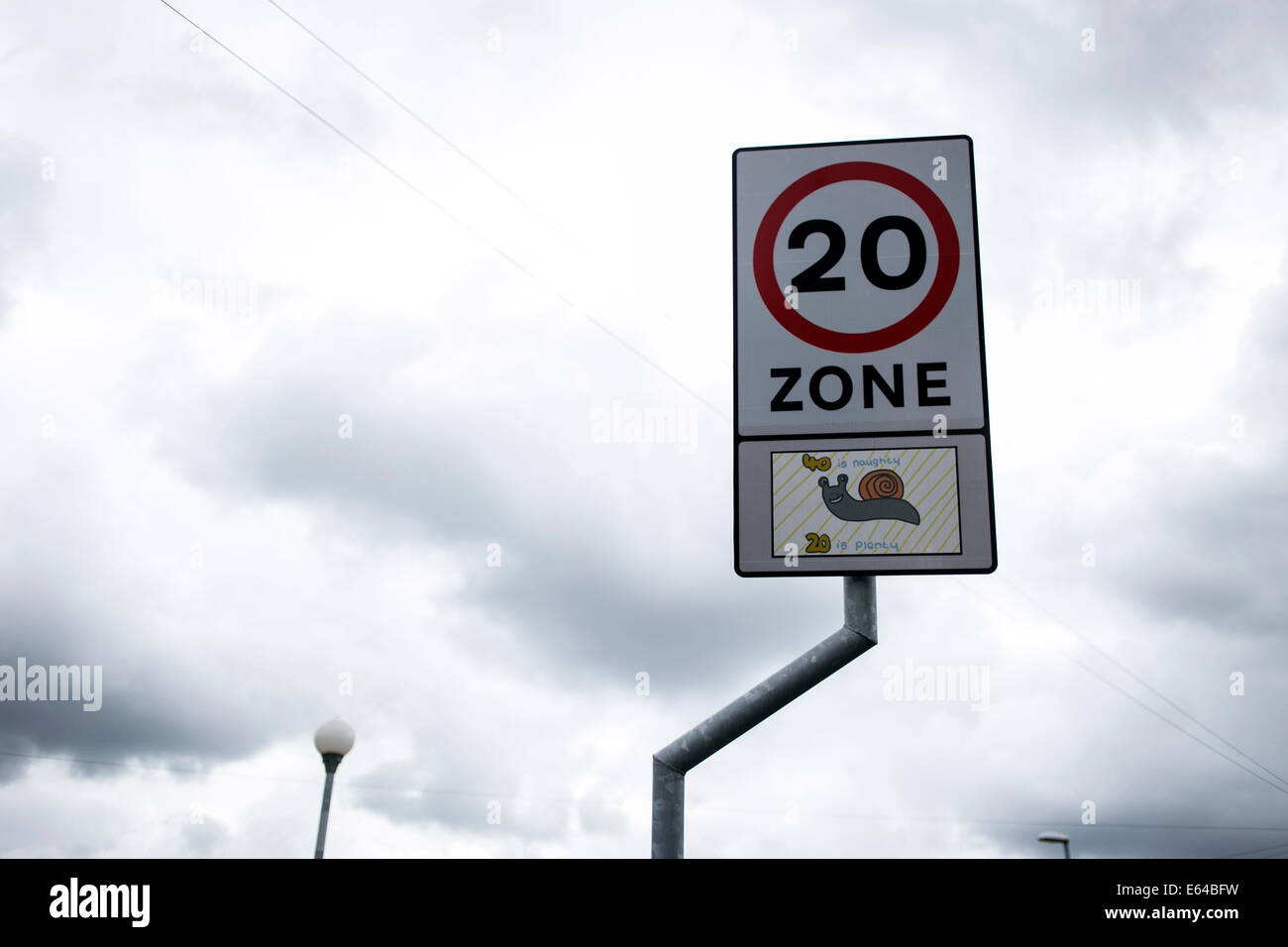 20 miles per hour road sign in Manchester - Stock Image
