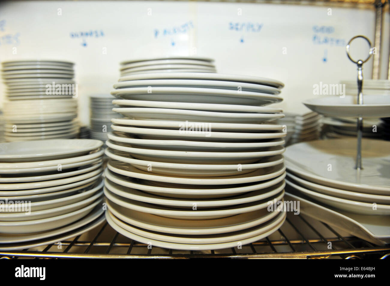 Stack of plates, Catering College, Bradford - Stock Image