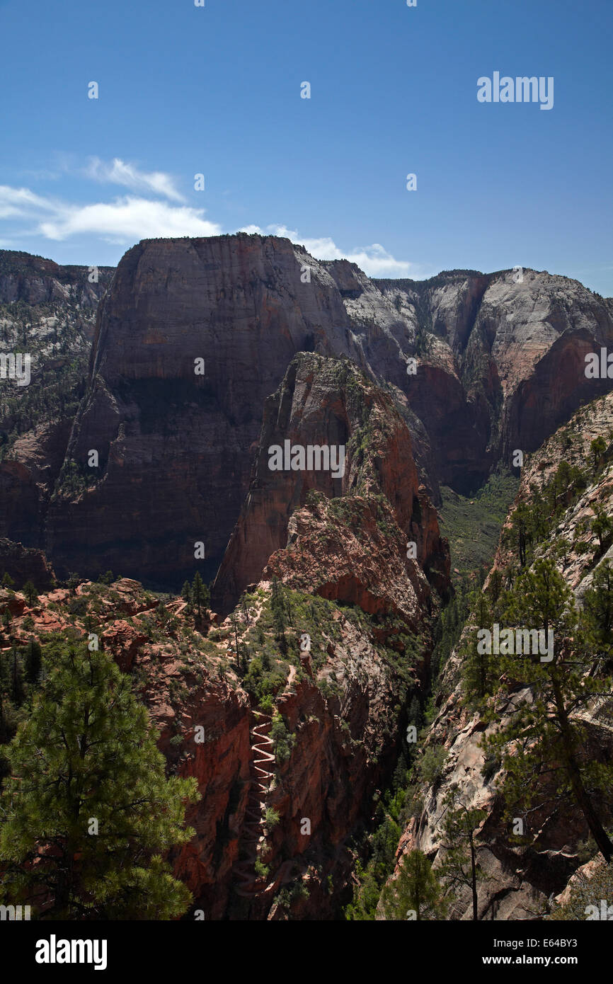 Walter's Wiggles zigzag, leading along the knife-edge to Angel's Landing, on West Rim Trail and Angels Landing track, Stock Photo
