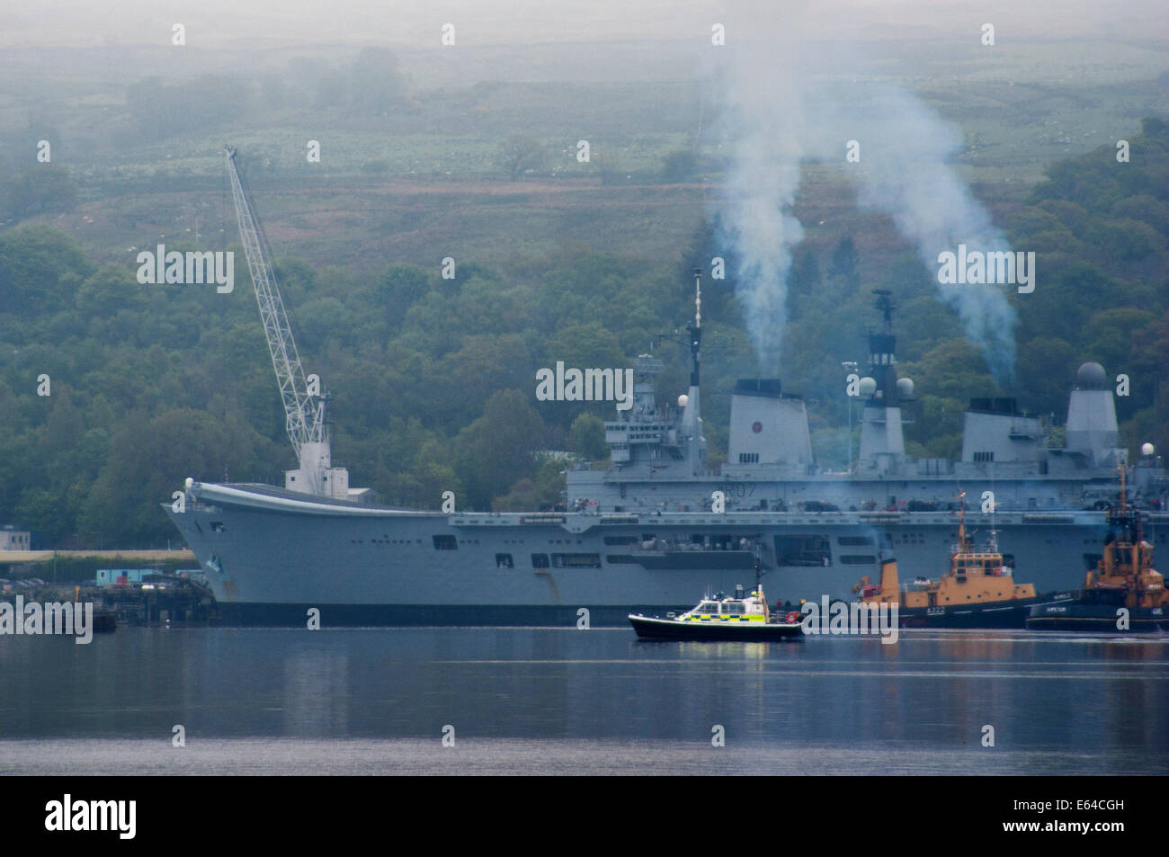 View of Faslane Royal Navy submarine base in Loch Gare on the shores of Scotland,  home port for Britain's Trident - Stock Image