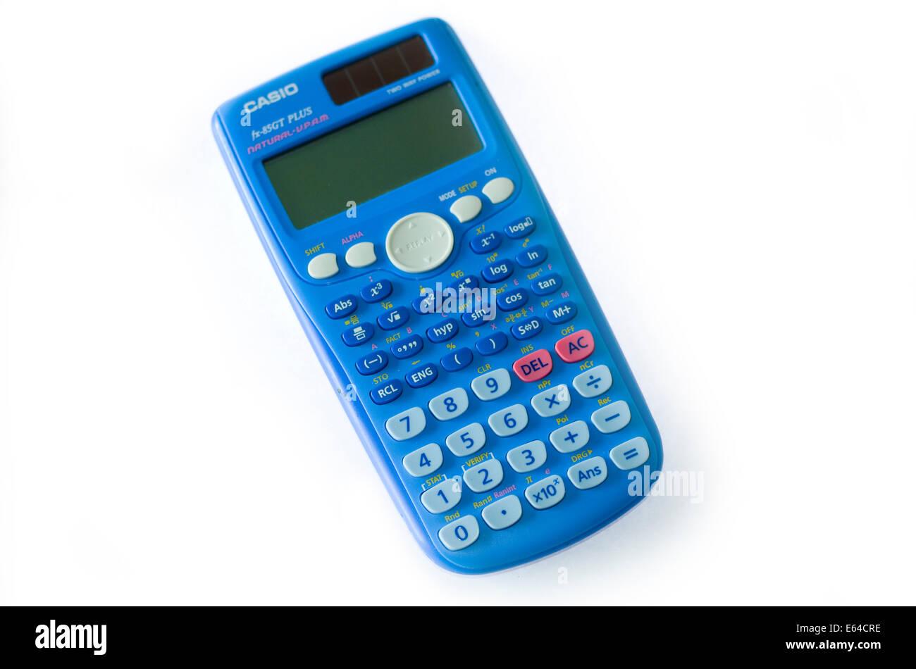 School scientific calculator on white background. - Stock Image
