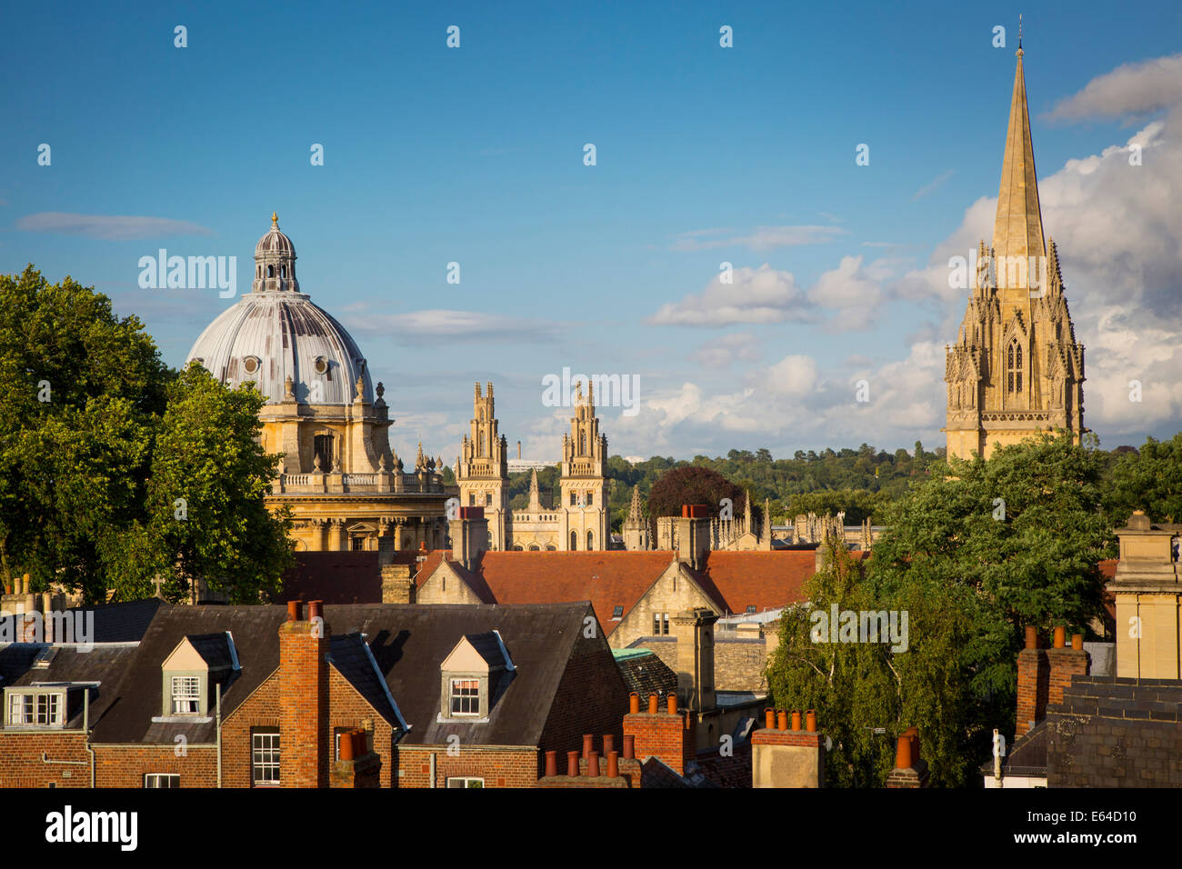 View over Oxford with the Radcliffe Camera, All Souls College and tower of St Mary's Church, Oxfordshire, England - Stock Image