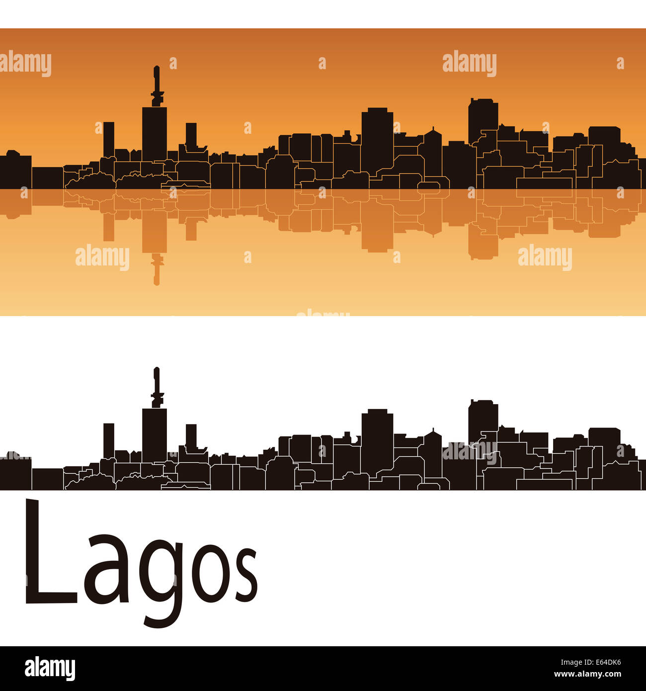 Lagos skyline in orange - Stock Image