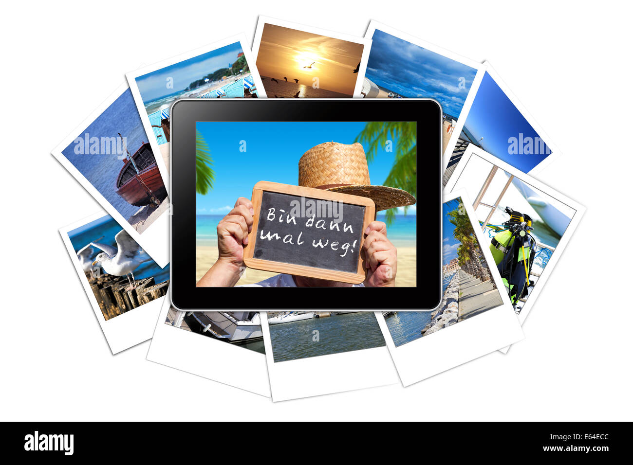 Digital Tablet with a Holiday pictures on the Display lies on a stack of many Vacations instant pictures isolated - Stock Image