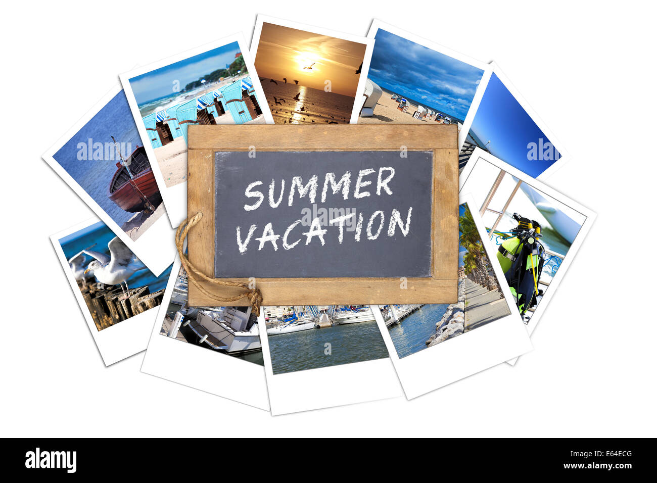 Old slate blackboard with the text message: SUMMER VACATION lies on a stack of many Vacations instant pictures - Stock Image