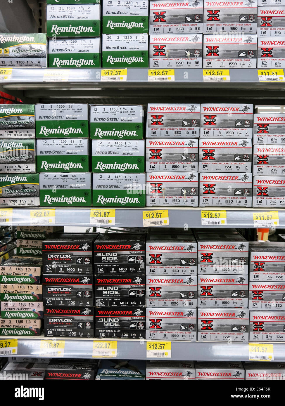 Winchester and Remington 12 Gauge Shotgun Shell Boxes, Walmart Stock