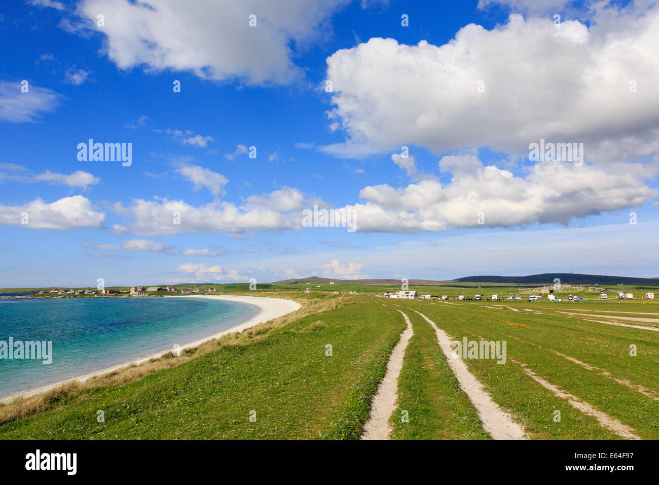 Traigh nam Faoghailean beach and campsite at Balranald RSPB Nature Reserve North Uist Outer Hebrides Western Isles - Stock Image