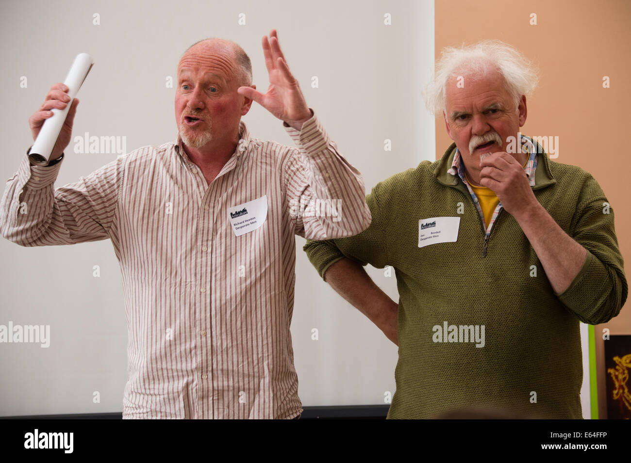 Street theatre practitioners and performance artists The Desperate Men (Richard Heedon and John Beedell) - UK - Stock Image