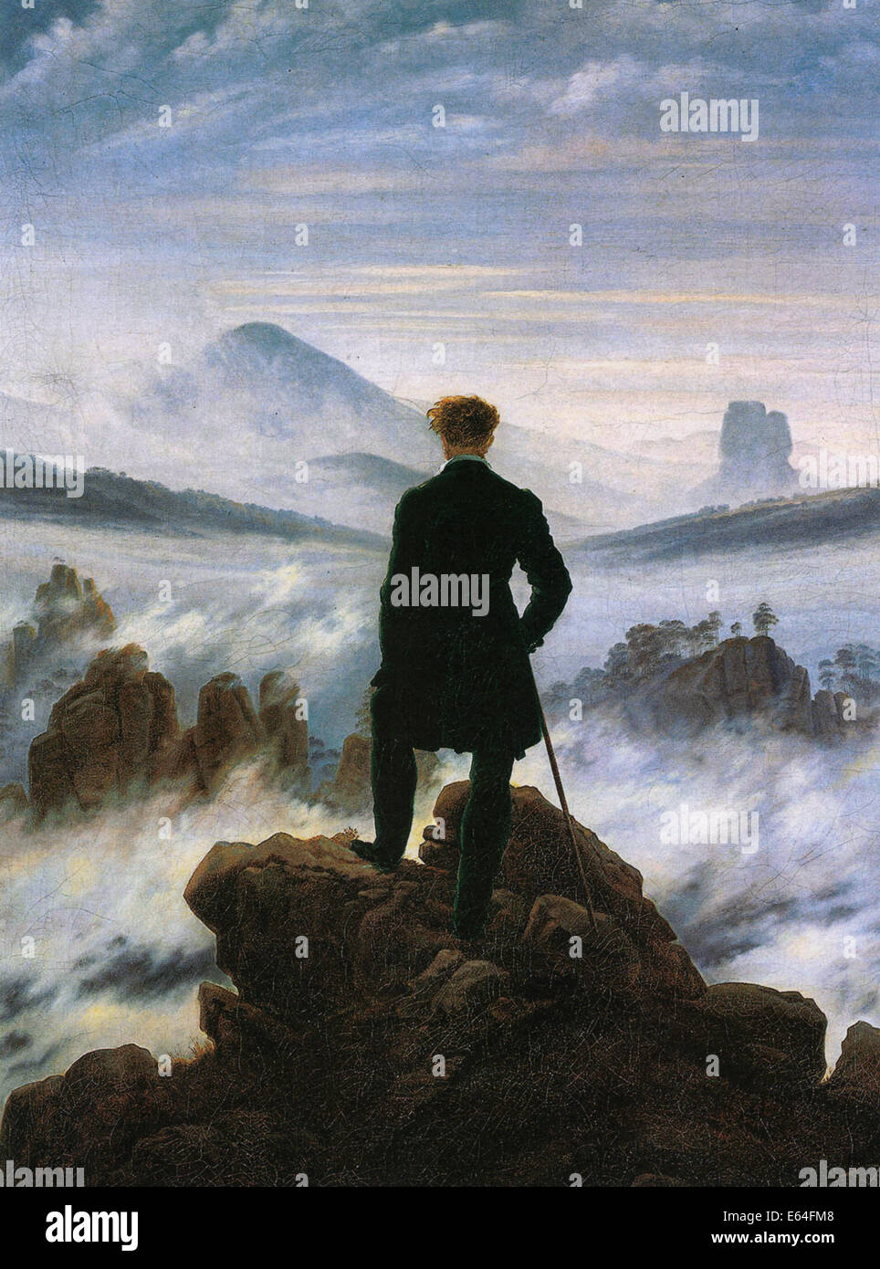 WANDERED ABOVE A SEA OF FOG  Painted in 1818 by German Romantic artist Caspar David Friedrich - Stock Image