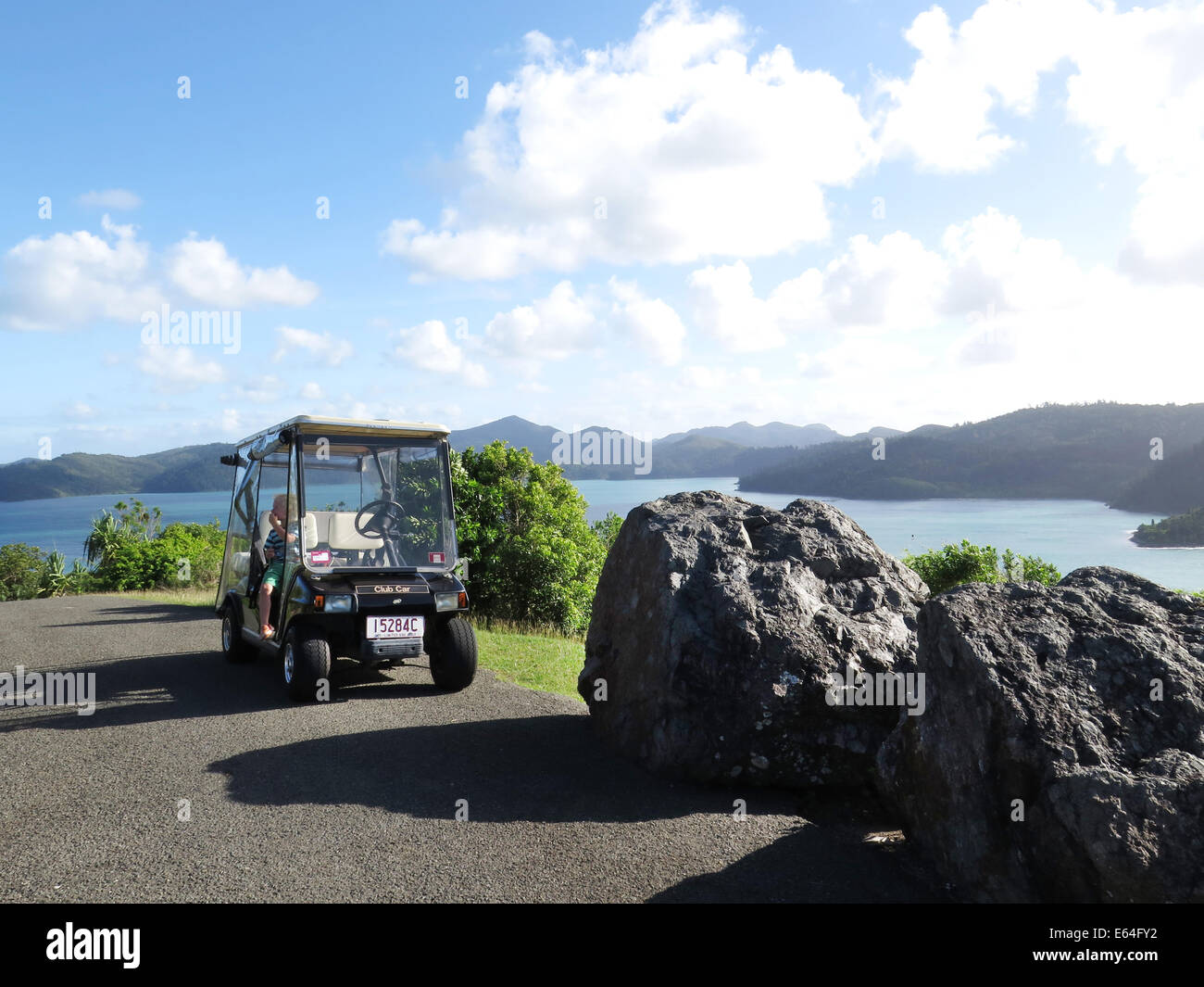 Golf Buggy at One Tree Hill, Hamilton Island in the Whitsunday Islands, Australia. - Stock Image