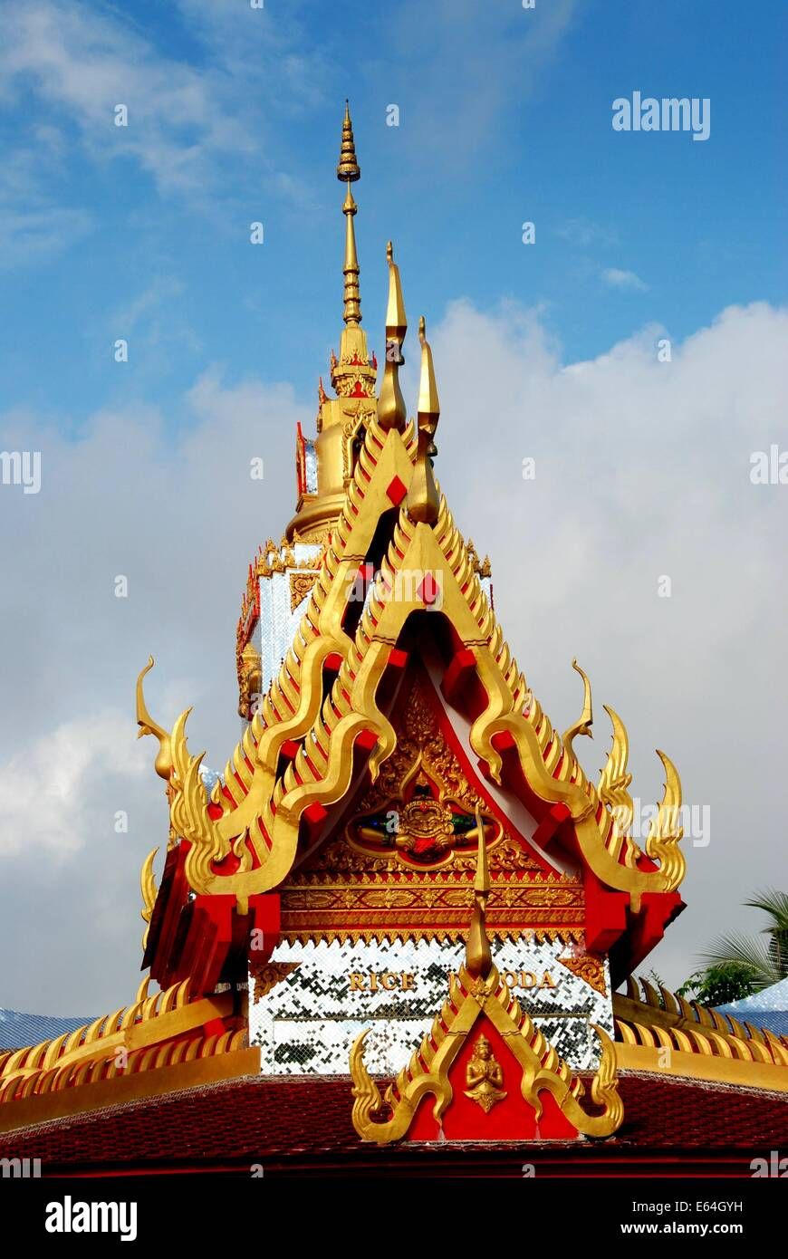 GEORGETOWN, MALAYSIA: Detail of the ornate gilded roof with its prongs at the Thai Wat Buppharam Stock Photo