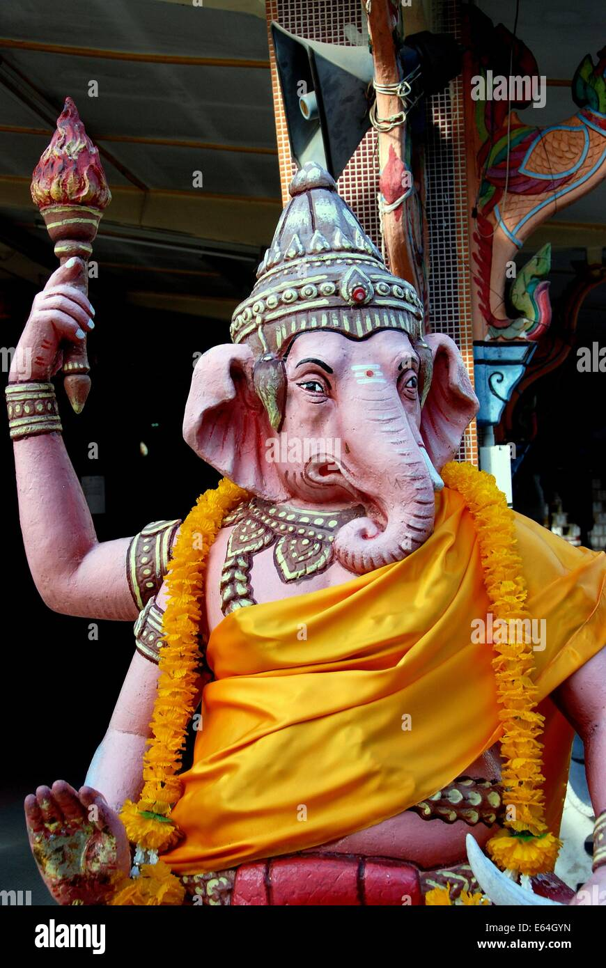 GEORGETOWN, MALAYSIA: A statue of Lord Ganesha, the Hindu Elephant God of Knowledge, at Thai Wat Buppharam Stock Photo