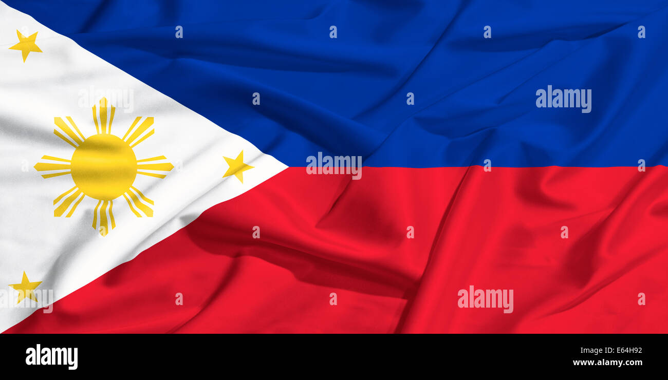 Philippine flag on a silk drape waving - Stock Image