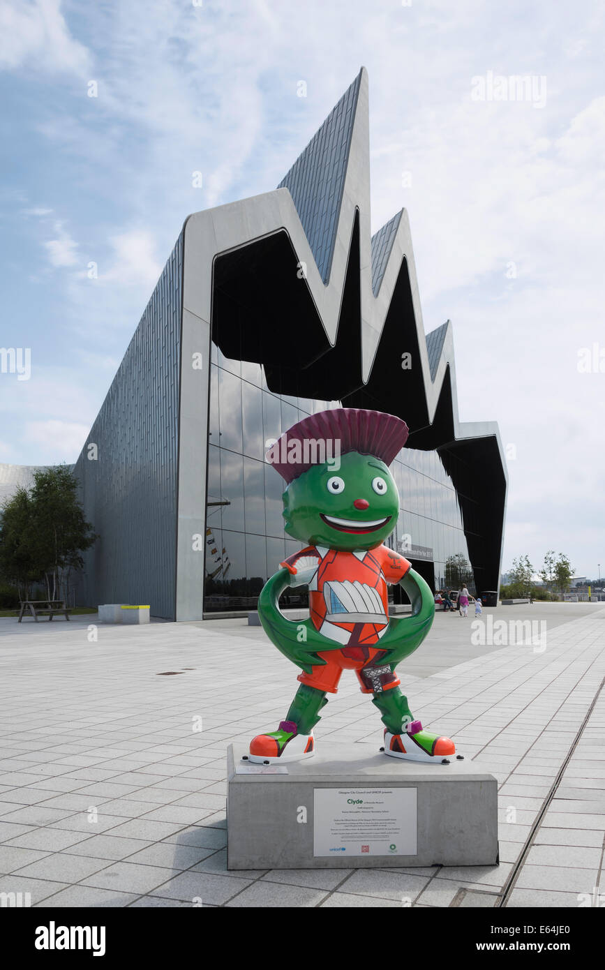 Commonwealth Games Glasgow 2014 mascot Clyde at the Riverside Museum of Transport . - Stock Image