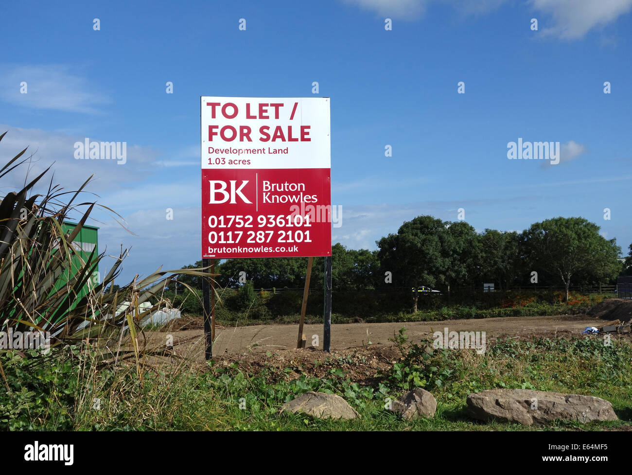Development land for sale sign