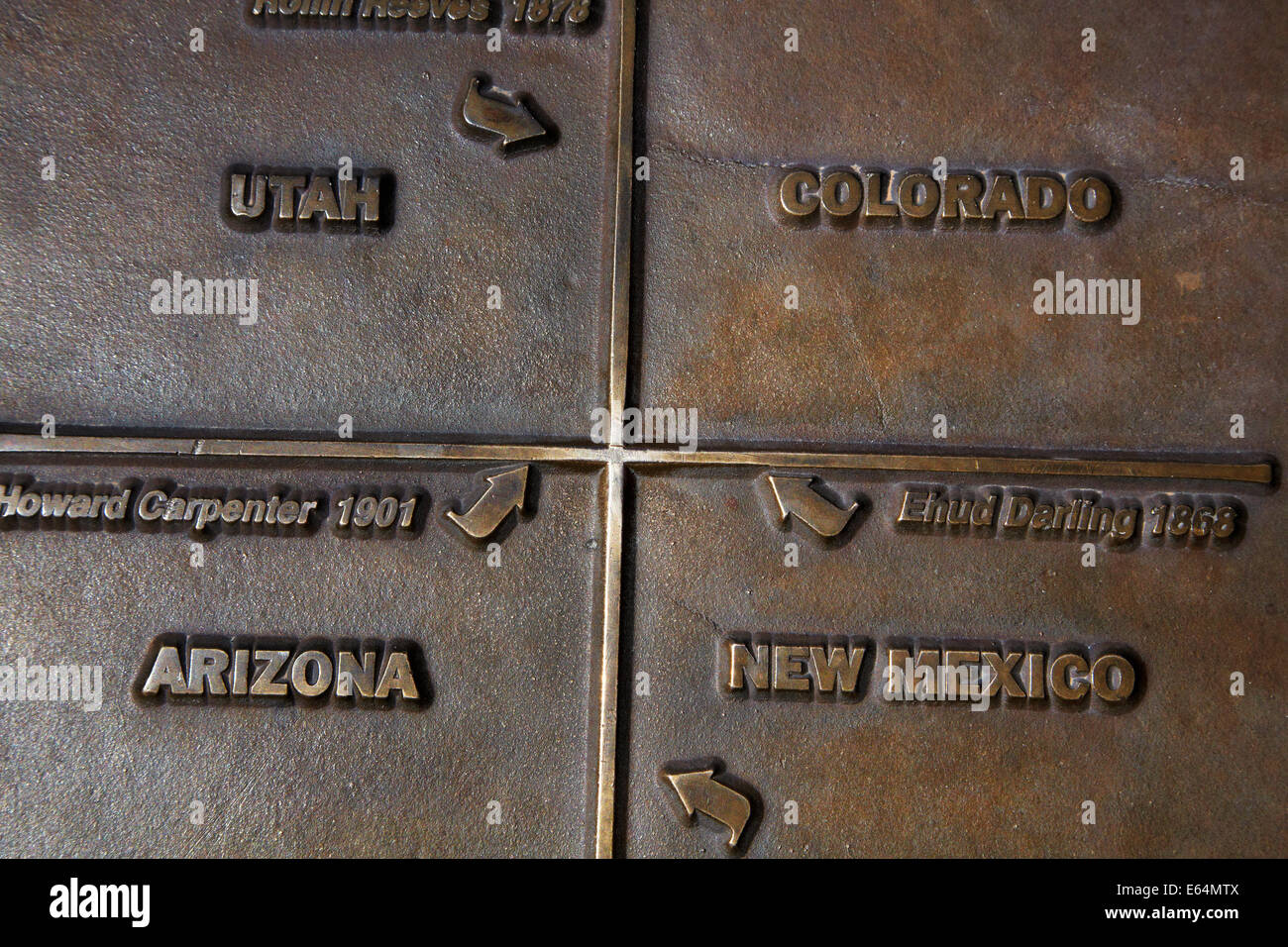 Four Corners Monument, at the state borders of Arizona, New Mexico, Colorado, and Utah, USA. - Stock Image