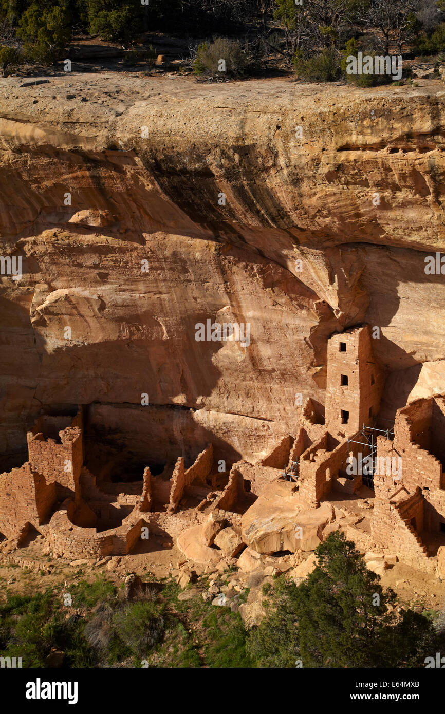 The Square Tower House Ruins, Mesa Verde National Park (UNESCO World Heritage Site), Colorado, USA - Stock Image