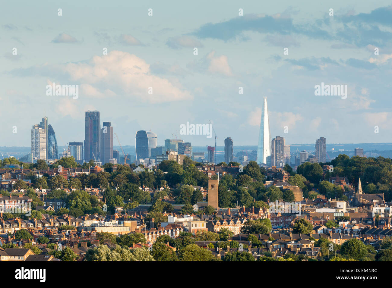 London City Skyline at Evening, from Alexandra Palace. England, UK - Stock Image