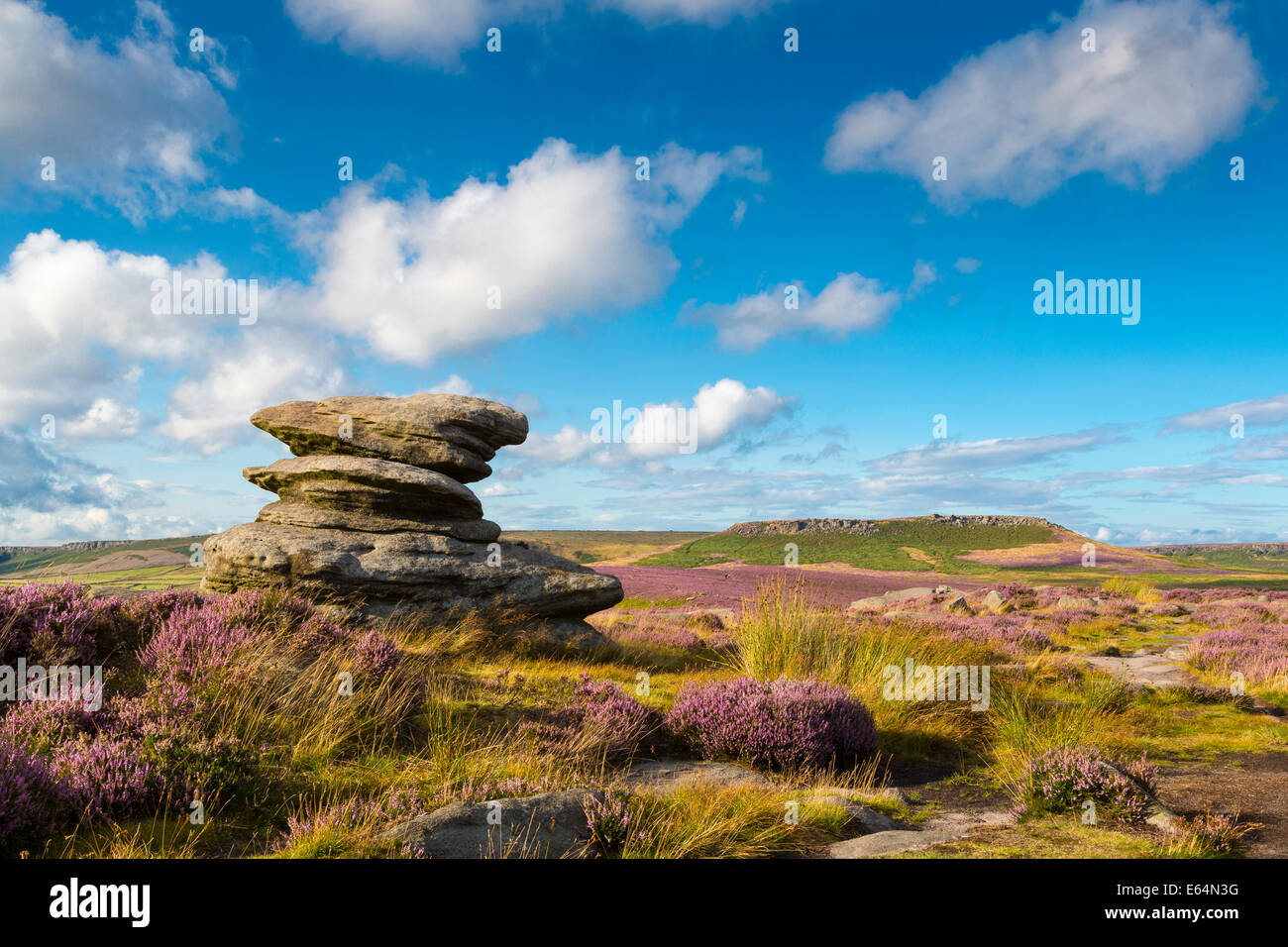 View from Hathersage Moor in Peak District National Park, Derbyshire, England, UK - Stock Image