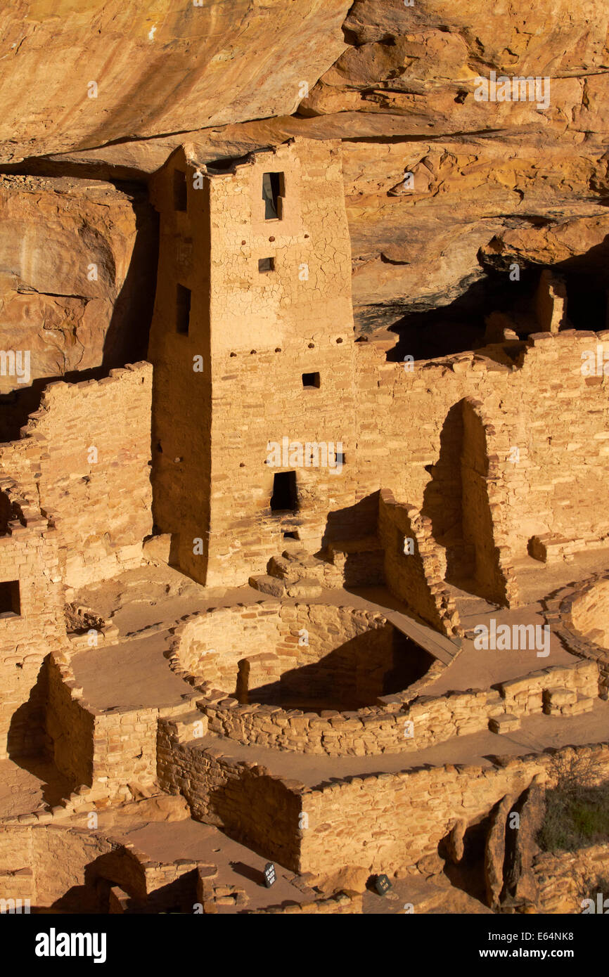 Cliff Palace (over 700 years old), Mesa Verde National Park (UNESCO World Heritage Site), Colorado, USA - Stock Image