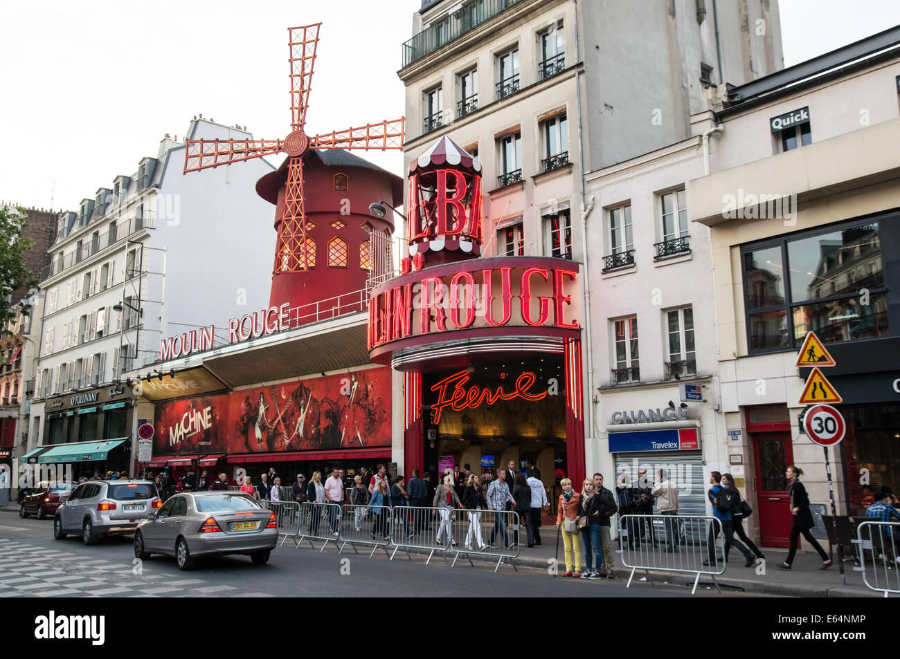 The Moulin Rouge in Paris, France - Stock Image