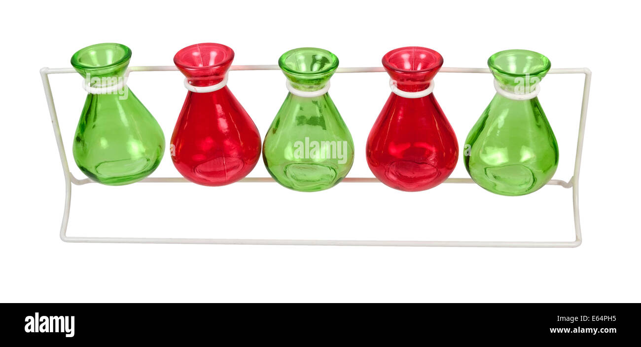 Line of Colored Beakers on a Stand - Stock Image