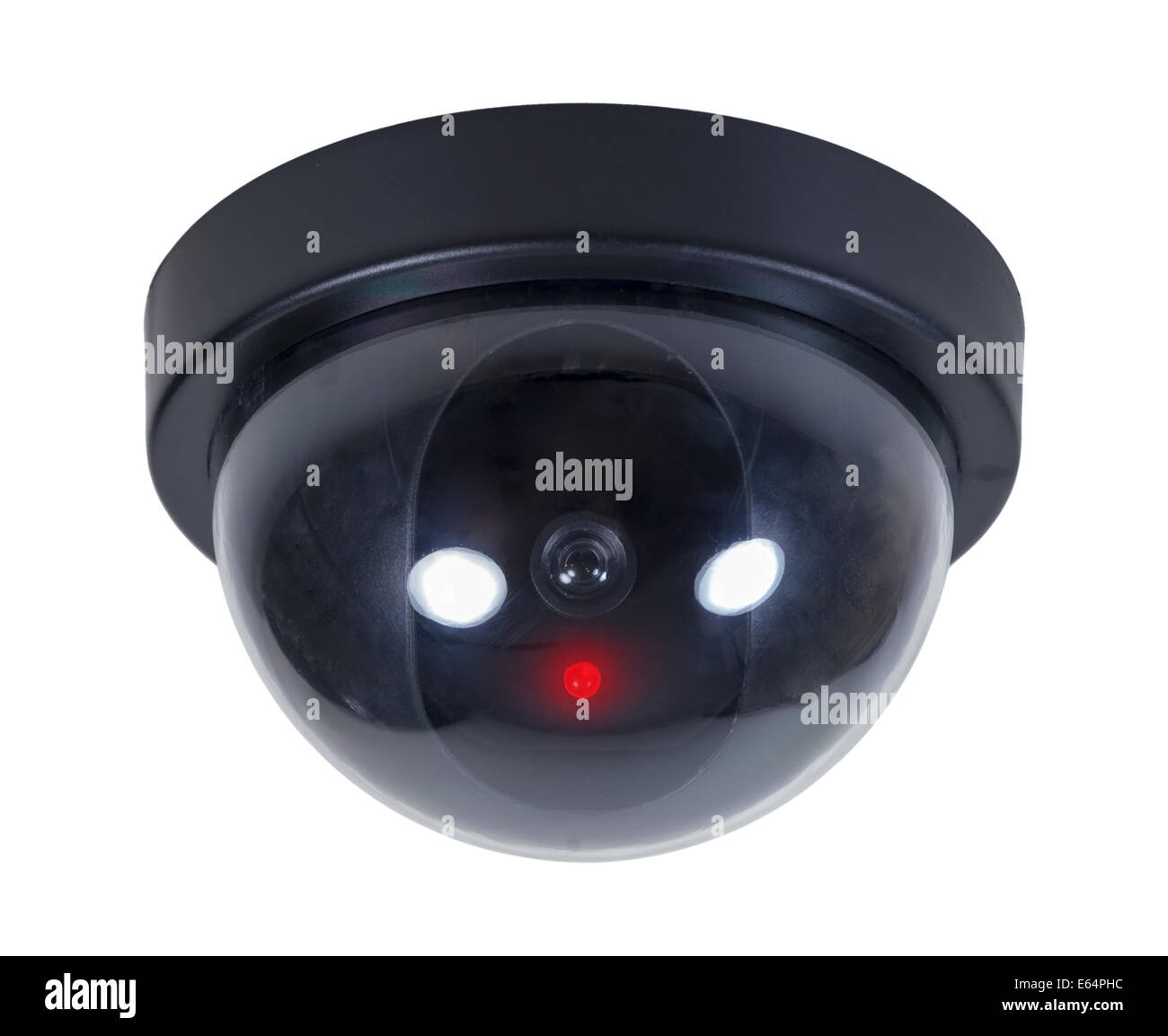 Domed security camera for viewing other rooms from a remote location - path included - Stock Image