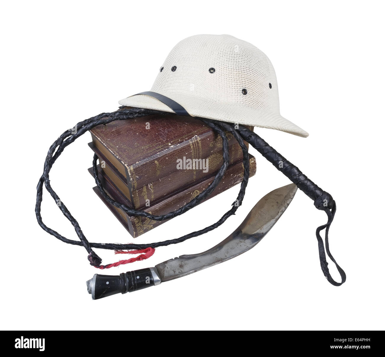Exploration Adventure Books Pith Helmet Whip Dagger- path included - Stock Image