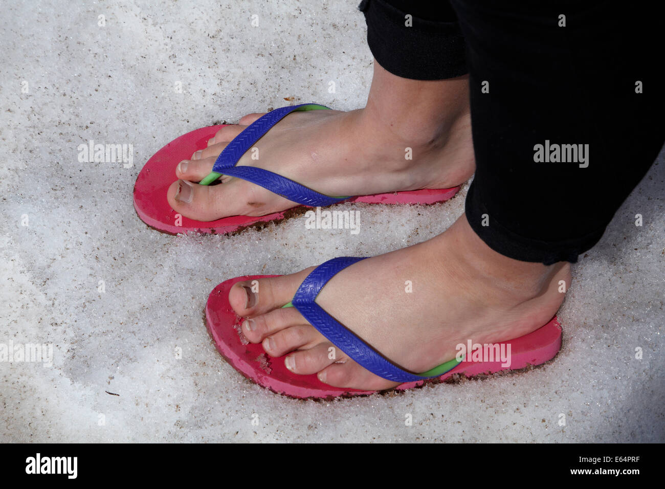 Flip-flops/thongs/jandals/sandals in snow at Molas Pass (10,910 ft/3325 m), US 550, San Juan Skyway, Colorado, USA - Stock Image
