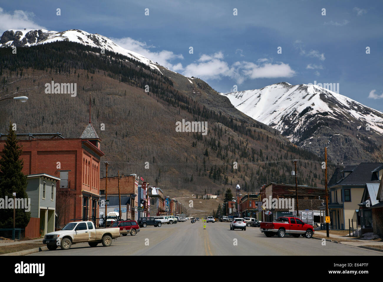 The historic mining town of Silverton, at an altitude of 9,305 ft / 2,836 m, in the San Juan Mountains, Colorado, - Stock Image