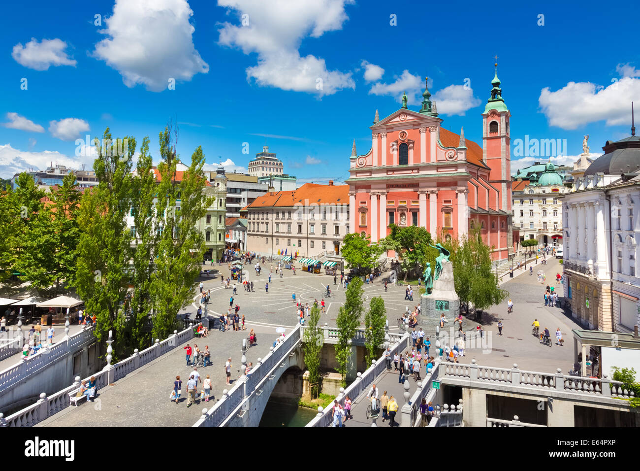Preseren square, Ljubljana, capital of Slovenia. - Stock Image
