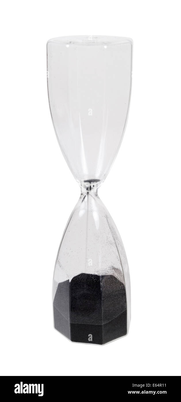 Large Hour glass with black sand used to measure time - path included - Stock Image