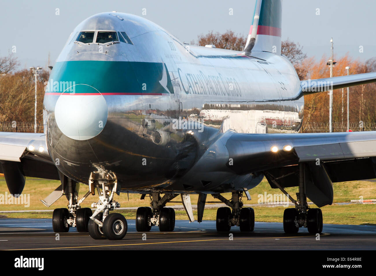 Cathay Pacific Cargo Boeing 747-400 lines up on runway 23R at Manchester airport. - Stock Image
