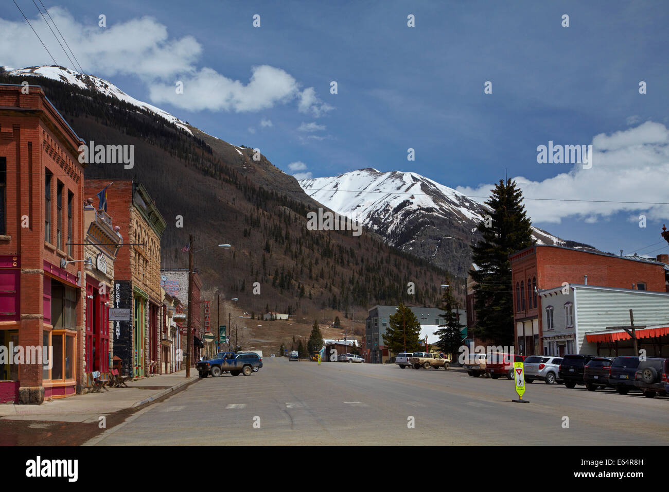 Main street of the historic mining town of Silverton, at an altitude of 9,305 ft / 2,836 m, in the San Juan Mountains, - Stock Image